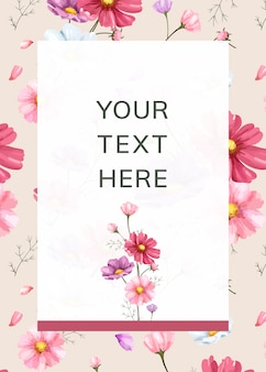 Pink flower background frame template