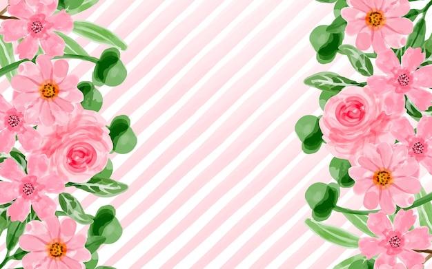 수채화와 핑크 꽃 배경