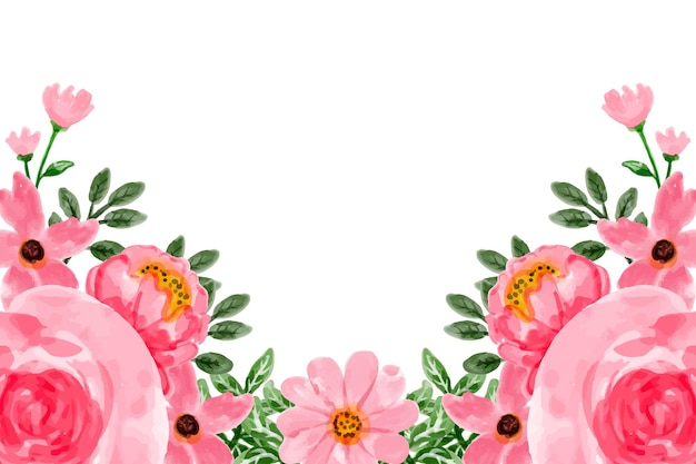 Pink flower background with watercolor