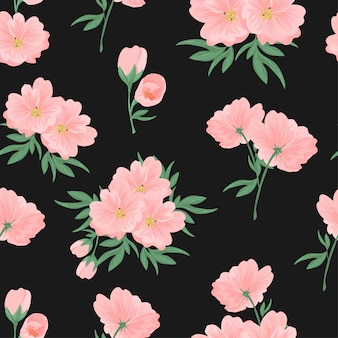 Pink flower bouquet with bud seamless pattern