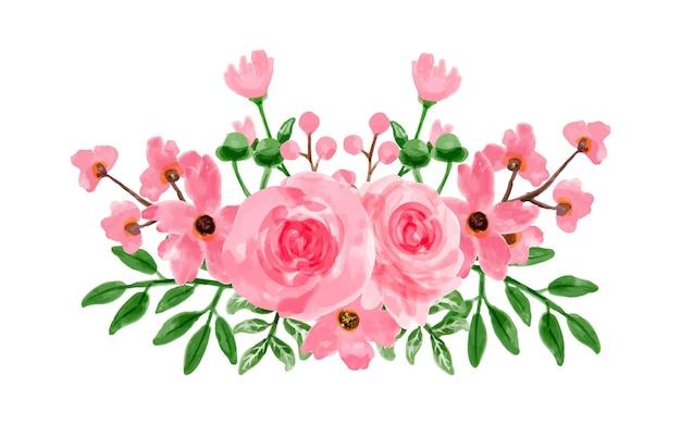 수채화와 핑크 꽃 꽃다발