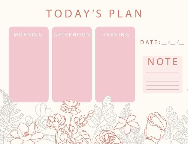Розовый цветочный календарь-планировщик с розой, жасмином и листьями. можно использовать для печати, альбома для вырезок и дневника.
