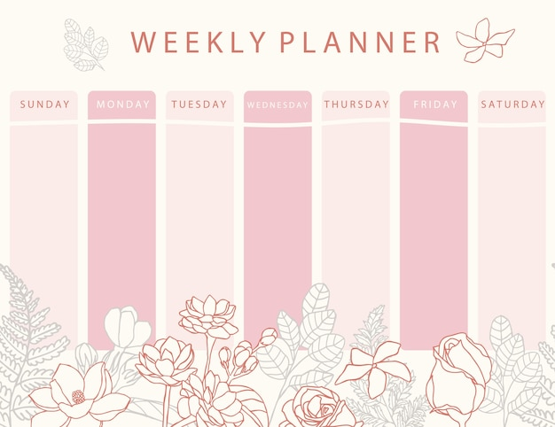 Pink flower calendar planner with rose,jasmine,leaves.can use for printable,scrapbook,diary