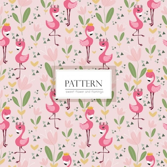Pink flower and flamingo bird seamless pattern