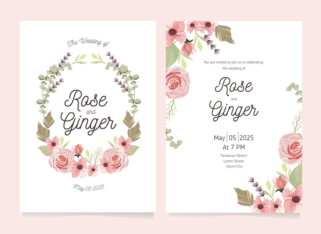 핑크 꽃 꽃 결혼식 초대 카드 서식 파일