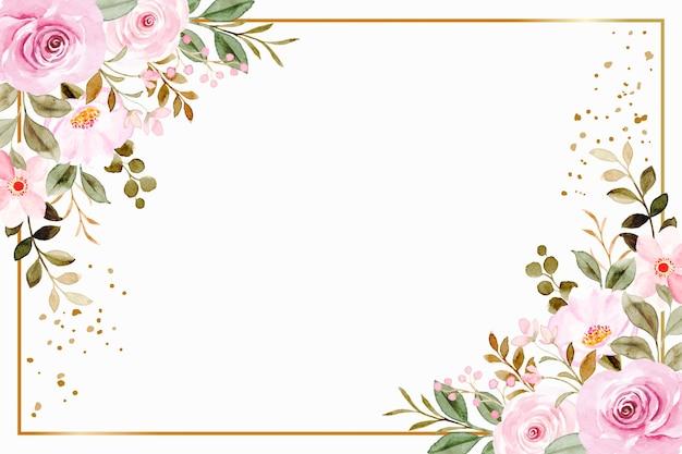 水彩でピンクの花フレームの背景