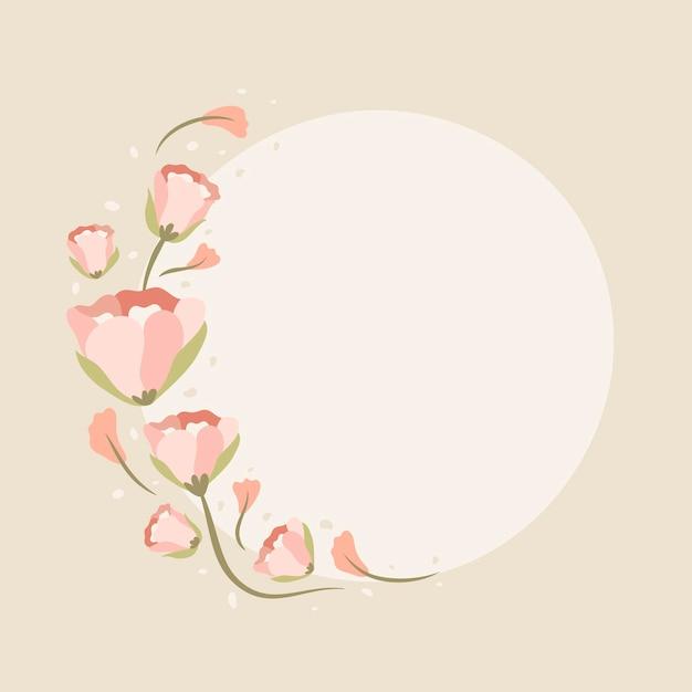 ピンクの花のフレーム、ベクトル、フラットなデザインイラスト