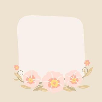 Cornice di fiori rosa, vettore, illustrazione di design piatto