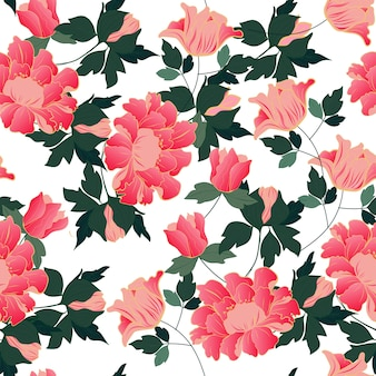 Pink flower and green leaves seamless pattern