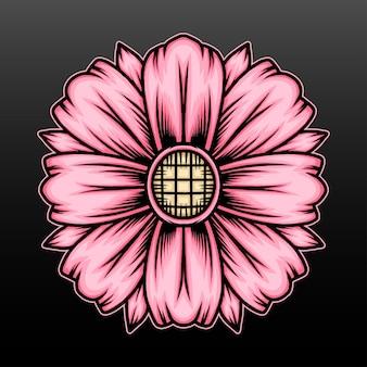 핑크 꽃 일러스트 디자인