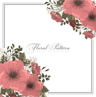 Pink flower illustration  floral frame