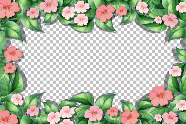Pink flower and leaves frame template on transparent background