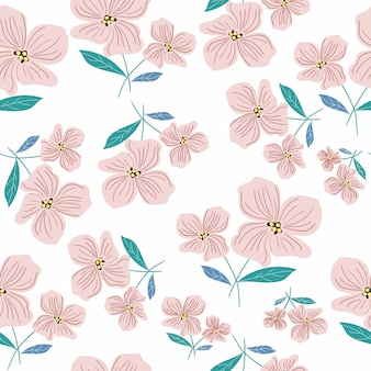 Pink flower and leaves seamless pattern