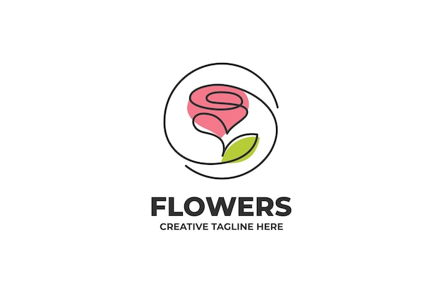 Pink flower one line drawing logo
