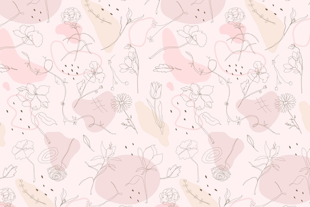 Pink flower pattern wallpaper vector in hand drawn style