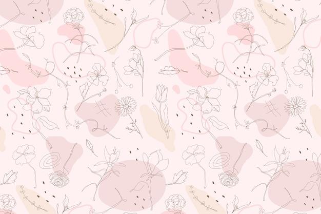 손으로 그린 스타일에 핑크 꽃 패턴 벽지 벡터