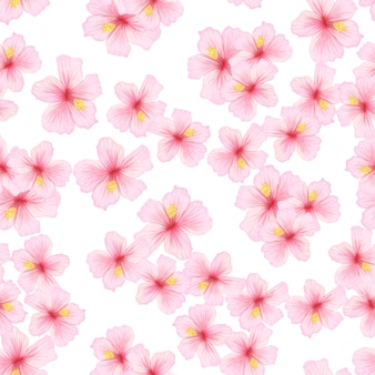 Pink flower  sakura seamless pattern.