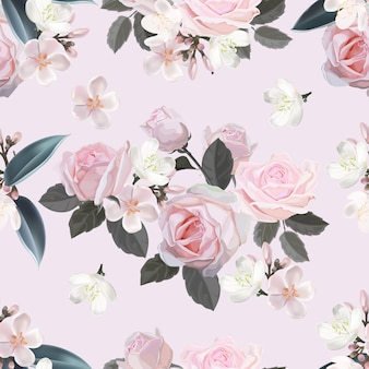 Pink flower seamless pattern vector illustration