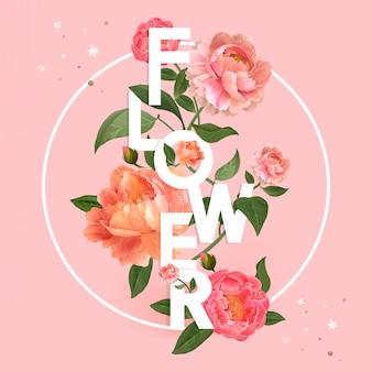 ピンクの花のタイポグラフィ