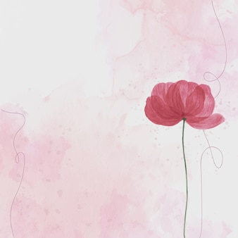 Pink flower, watercolor background