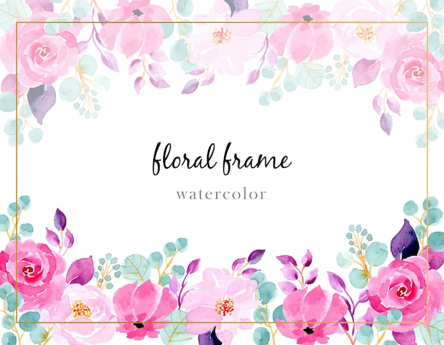 Pink flower watercolor background