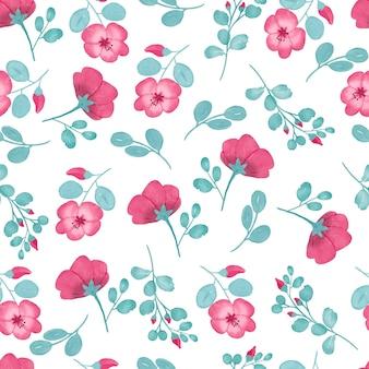 핑크 파스텔 색상과 tosca 잎 색상으로 핑크 꽃 수채화 패턴 디자인