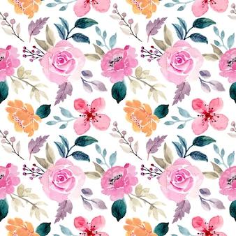 핑크 꽃 수채화 원활한 패턴