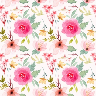 Pink flower watercolor seamless pattern