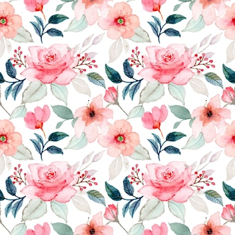 Pink flower watercolor seamless pattern