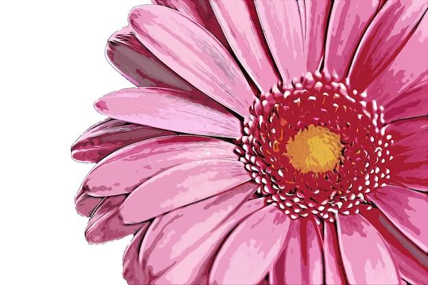 핑크 꽃 수채화