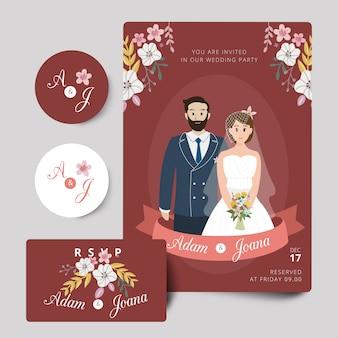 Pink flower wedding couple invitation