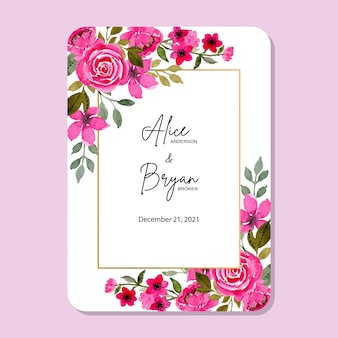 Pink flower wedding frame with watercolor