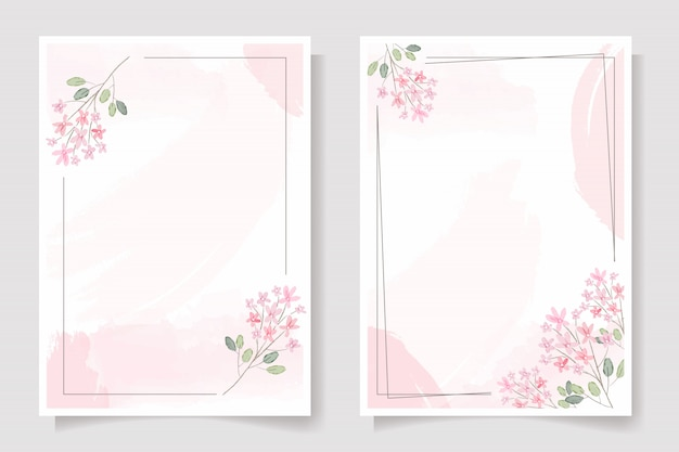 Pink flower with frame on pink watercolor splash wedding invitation or birthday greeting card template collection