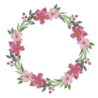 ピンクの花と葉の境界線とピンクの花の花輪サークルフレーム