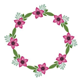 핑크 꽃 꽃과 녹색 잎 테두리가있는 핑크 꽃 화환 원 프레임