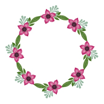 Pink flower wreath circle frame with pink flower blossom and green leaf border