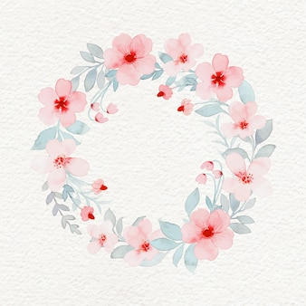 Pink flower wreath with watercolor