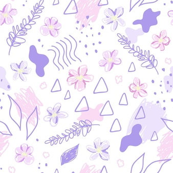 Pink flowers and abstract elements. cute pretty seamless pattern in modern style. hand drawn vector illustration. texture for print, fabric, textile, wallpaper.