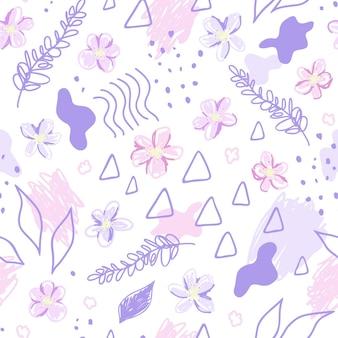핑크 꽃과 추상 요소입니다. 현대적인 스타일의 귀여운 아주 매끄러운 패턴입니다. 손으로 그린 벡터 일러스트 레이 션. 인쇄, 직물, 섬유, 벽지 질감.