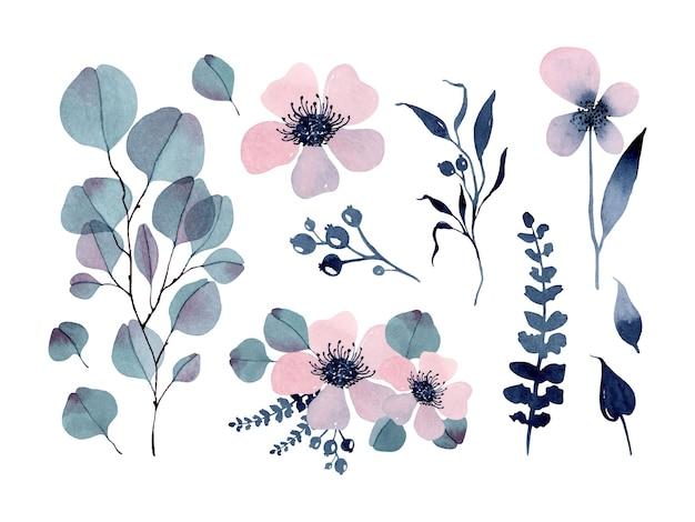 ピンクの花とユーカリの枝の花の要素と花束の水彩セット