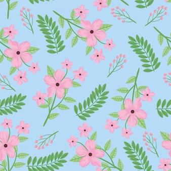 ピンクの花と葉のシームレスなパターン