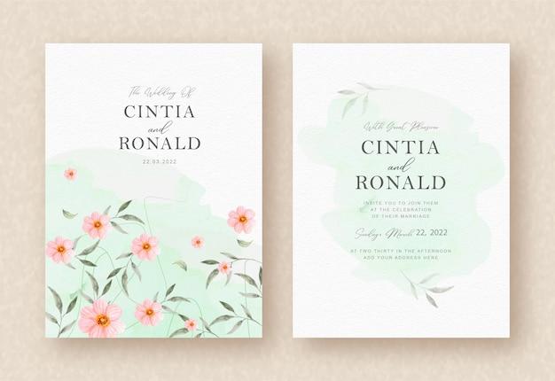 ピンクの花と葉の結婚式の招待状の背景