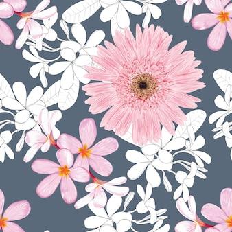 ピンクの花と白い葉の紺色の背景に花柄