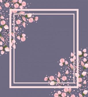 Розовые цветы ветви картины с рамкой на сером