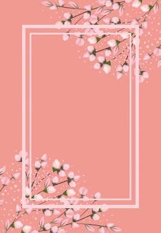 Розовые цветы ветви картины с рамкой на розовом