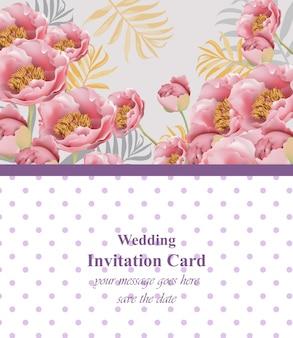 ピンクの花のカードベクトル。招待状、結婚式、ブランドブック、名刺、ポスターのための美しいイラスト。テキストのための場所