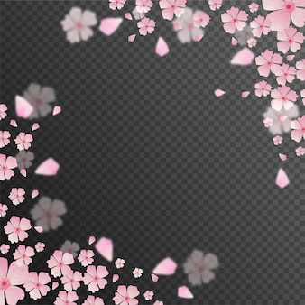Pink flowers decorated transparent background