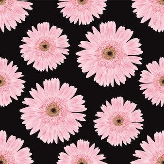 黒の背景にピンクの花の花柄のデザイン