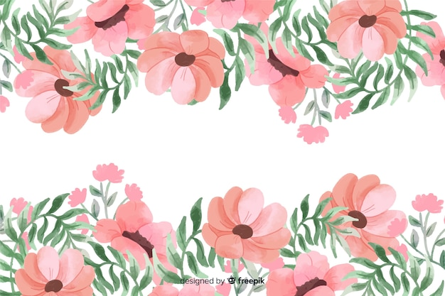 Pink flowers frame background with watercolor design