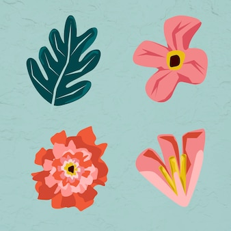 Pink flowers and leaves element set on a green background